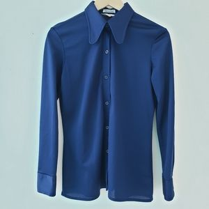 Vintage Collar Button Down Shirt Tapered Fit Blue